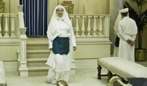 Simulated LdS Temple scene with examples of full LdS Temple Garments attire from the