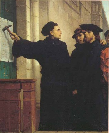 Luther posting the 95-Theses onto the door of Wittenberg Castle Chapel (circa 1517)