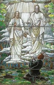 Stained glass depiction of the first vision of Joseph Smith, Jr., completed in 1913 by an unknown artist (Museum of Church History and Art).
