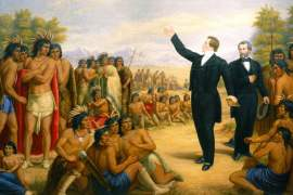 An 1890 oil painting of Joseph Smith preaching to the Indians. The painting was commissioned for the Salt Lake Temple and it hung there for over fifty years.