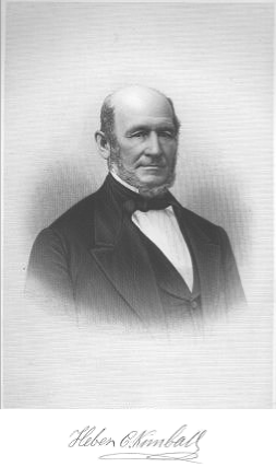 Heber Chase Kimball (June 14, 1801 – June 22, 1868) was a leader in the early Latter Day Saint movement. He served as one of the original twelve apostles in the early Mormon church, and as first counselor to Brigham Young in the First Presidency of The Church of Jesus Christ of Latter-day Saints from 1847 until his death