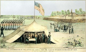 The Mormons surrendering to end the 1838 Mormon War in Missouri.