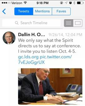 Dallin H Oaks Tweet
