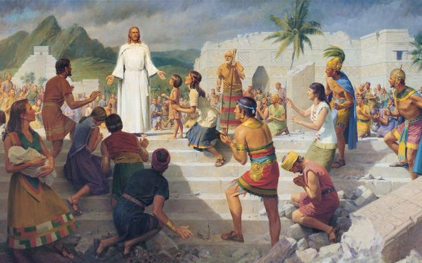 """Jesus Christ visits the Americas"" by John Scott. It doesn't get much more Jewish than this does it folks? Especially the ""Jewish"" Temple in the background."