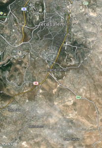 Google Earth satellite photo of Jerusalem and Bethlehem. (click to zoom)