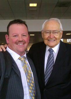 Carl with LDS Apostle L. Tom Perry; 2011 at Dulles Airport