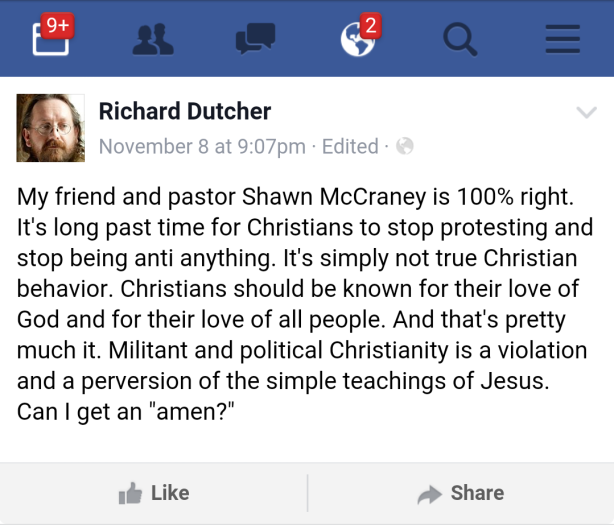 Richard Dutcher's November 8, 2015 post describing Shawn McCraney as his Pastor and Friend.