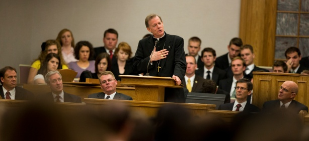 The Most Reverend Bishop John Charles Wester of the Salt Lake City Diocese of the Catholic Church speaks to students at the LDS Institute of Religion and at the Alumni House on the campus of Utah Valley University in Orem, Utah Tuesday Sept. 18, 2012. (August Miller, UVU Marketing)