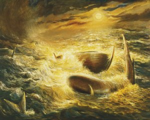 An artist's rendering of the Jaredite barges from an LDS Church manual.