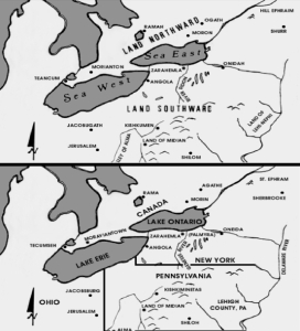 """Though never endorsed by the Mormon Church, Latter-day Saint Vernal Holley's map (top) based upon his opinion or """"pet theory"""" of the Land of Promise location; The bottom is Holley's map of the same area as it existed around the time of Joseph Smith, showing the same or similar names. (click to enlarge)"""