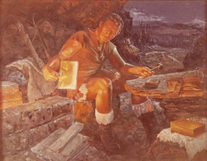 """Nephi Fashioning the Plates"" by Bill L. Hill"