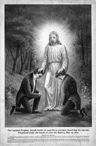 A 19th century depiction of John the Baptist conferring the Aaronic priesthood to Joseph Smith and Oliver Cowdery