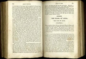 A first edition 1830 Book of Mormon open to the Book of Alma