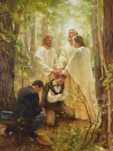 Contemporary painting of Joseph Smith and Oliver Cowdery receiving the Melchizedek Priesthood