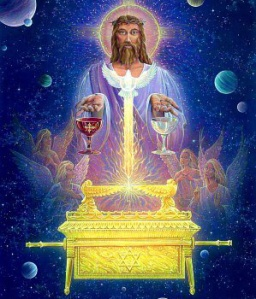 Artist's speculative depiction of Jesus Christ acting as High Priest in heaven