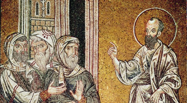 """St. Paul Preaching to the Jews in the Synagogue at Damascus,"" from Scenes from the Life of St. Paul (mosaic), Byzantine School, 12th century. Duomo, Monreale, Sicily, Italy)"