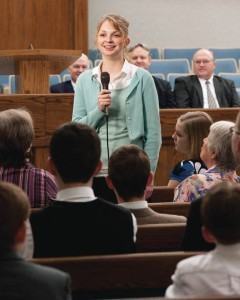A young Mormon woman bearing her testimony