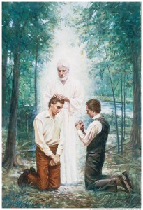 Artist's depiction of Joseph Smith and Oliver Cowdery receiving the Aaronic Priesthood.