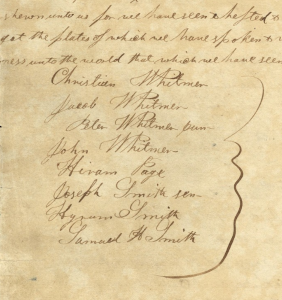 Exhibit A: Testimony of Eight Witnesses, late June 1829 Christian Whitmer, Jacob Whitmer, Peter Whitmer Jr., and others, Testimony of Eight Witnesses, Palymra, NY, late June 1829; in Book of Mormon Printer's Manuscript, p. 464; handwriting of Oliver Cowdery; (credit: Joseph Smith Papers Project)