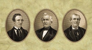 "The ""three witnesses"" to the Book of Mormon: Oliver Cowdrey, David Whitmer, and Martin Harris"