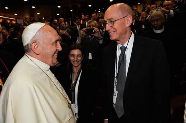Pope Francis and Henry B. Eyring First Counselor in the First Presidency of The Church of Jesus Christ of Latter-day Saints. At a 2014 Vatican Summit of religious leaders on marriage.