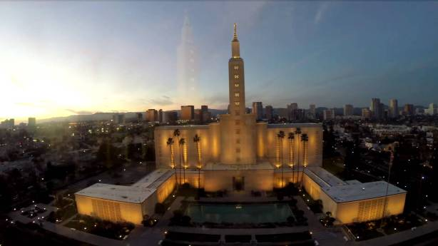 The Los Angeles, California LDS Church Temple at Sunset