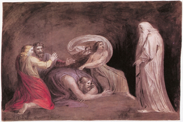 """The Spirit of Samuel Appearing to Saul"" by William Blake, 1783 Pen and watercolor"