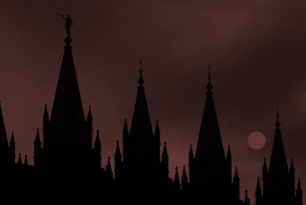 Moroni Temple Shadow Red and Grainy