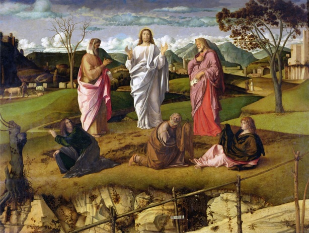 """The Transfiguration"" by 1480 (oil on panel) by Bellini, Giovanni (c.1430-1516); 115x154 cm; Museo e Gallerie Nazionali di Capodimonte, Naples, Italy; Italian, out of copyright"