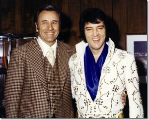 "Faith healer Oral Roberts and Elvis Presley circa 1974. You can't get more ""70's"" than this!"