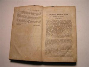 An 1830 first edition Book of Mormon open to 1 Nephi
