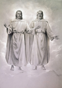 God the Father and Jesus Christ, by Mormon Artist Del Parson. This is NOT what the Book of the Mormon teaches about God's nature.