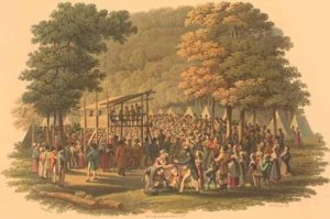 Methodist camp meeting (1819 engraving) Jacques Gérard Milbert (1766-1840)