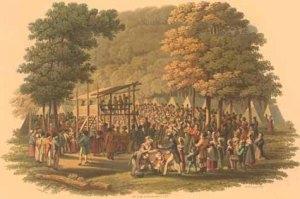 Methodist camp meeting (1819 engraving) Jacques Gérard Milbert (1766-1840)