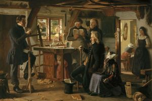 """Mormons visit a country carpenter"" (1856) by Christen Dalsgaard, depicting a mid-19th century visit of a missionary to a Danish carpenter's workshop. The first missionaries arrived in Denmark in 1850."