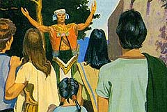 A large, strong man named Nehor went about teaching lies. He said that everyone would be saved, whether they were good or bad. Alma 1:2–6 (Liahona magazine August 1992)