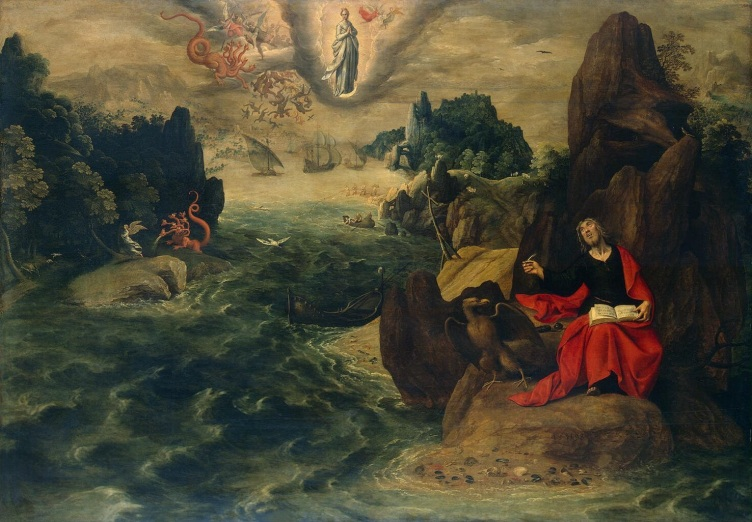 """""""Landscape with St John the Evangelist at Patmos"""" by Gillis Coignet (ca. 1542–1599) from the Hermitage Museum"""