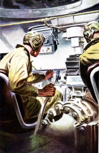 Artist's depiction of the crew in a Sherman Tank.