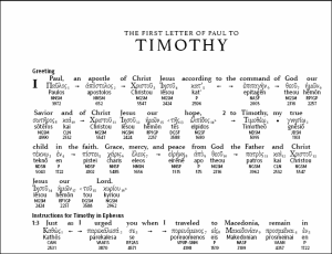 1 Timothy in a Greek Interlinear.