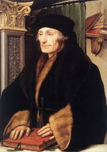 Desiderius Erasmus in 1523 as depicted by Hans Holbein the Younger. Erasmus was responsible for the Textus Receptus.