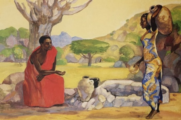 """""""Jesus and the Samaritan Woman"""" Unknown African"""